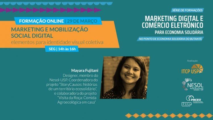 Flyer marketing digital e comércio eletrônico para Economia Solidária